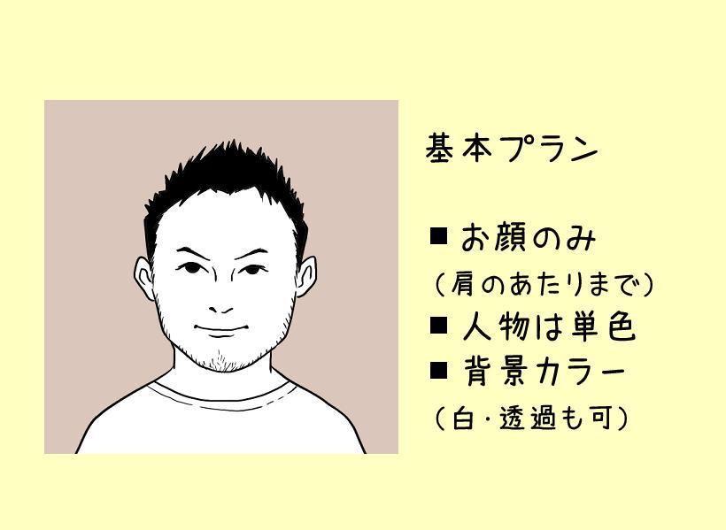 お写真をもとにちょーどいいビジネス似顔絵描きます SNSアイコンや名刺に盛りすぎないシンプルな似顔絵を