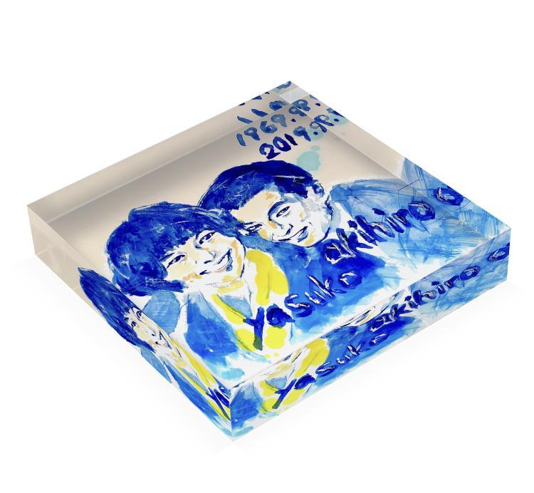 プレゼントに!青い似顔絵アクリルブロック作ります 高級感溢れるウェルカムボードやインテリア・記念日やアートに