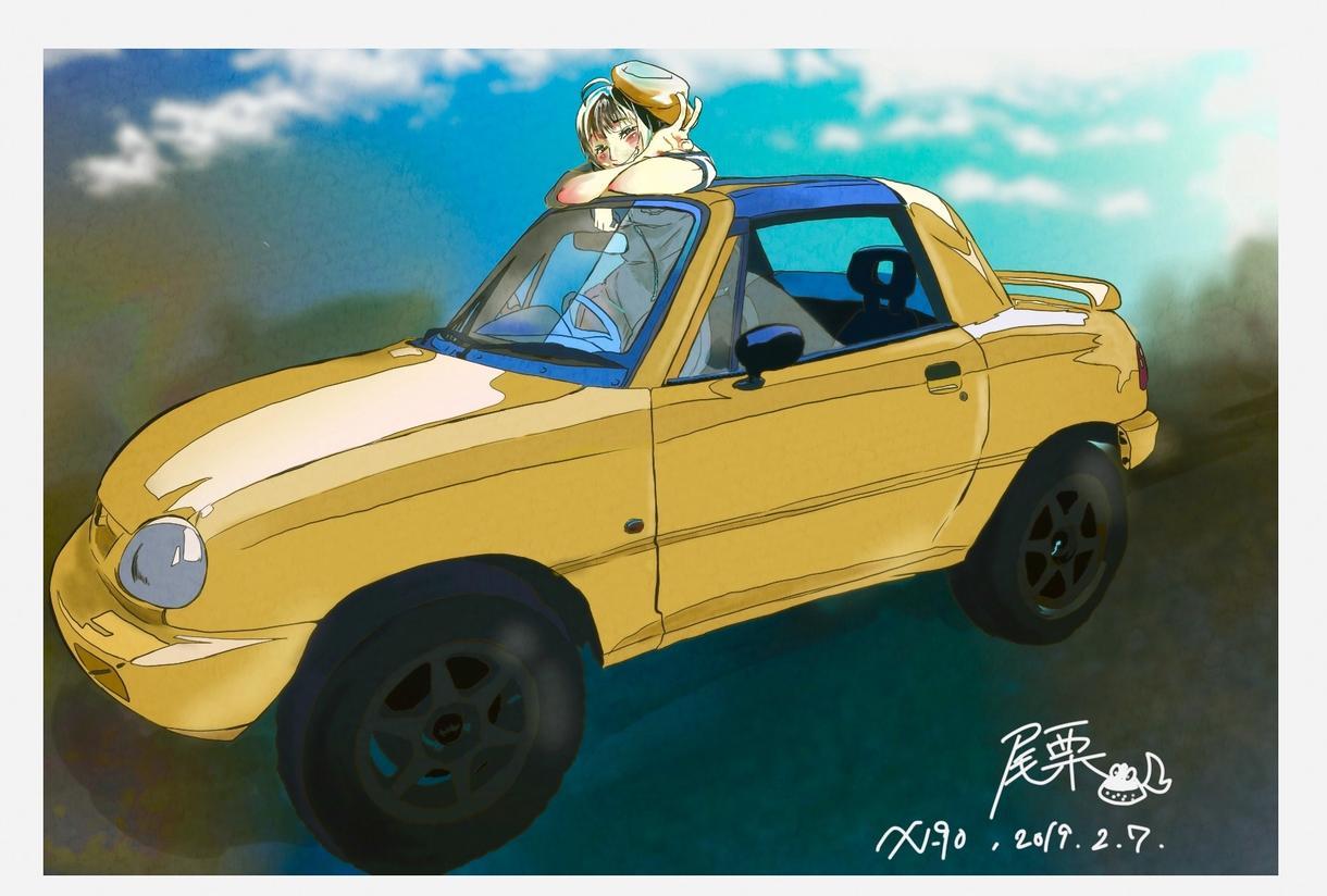 愛車とキャラが並ぶイラスト描きます オリジナルグッズ製作にどうぞ(デフォルメから漫画タッチまで)