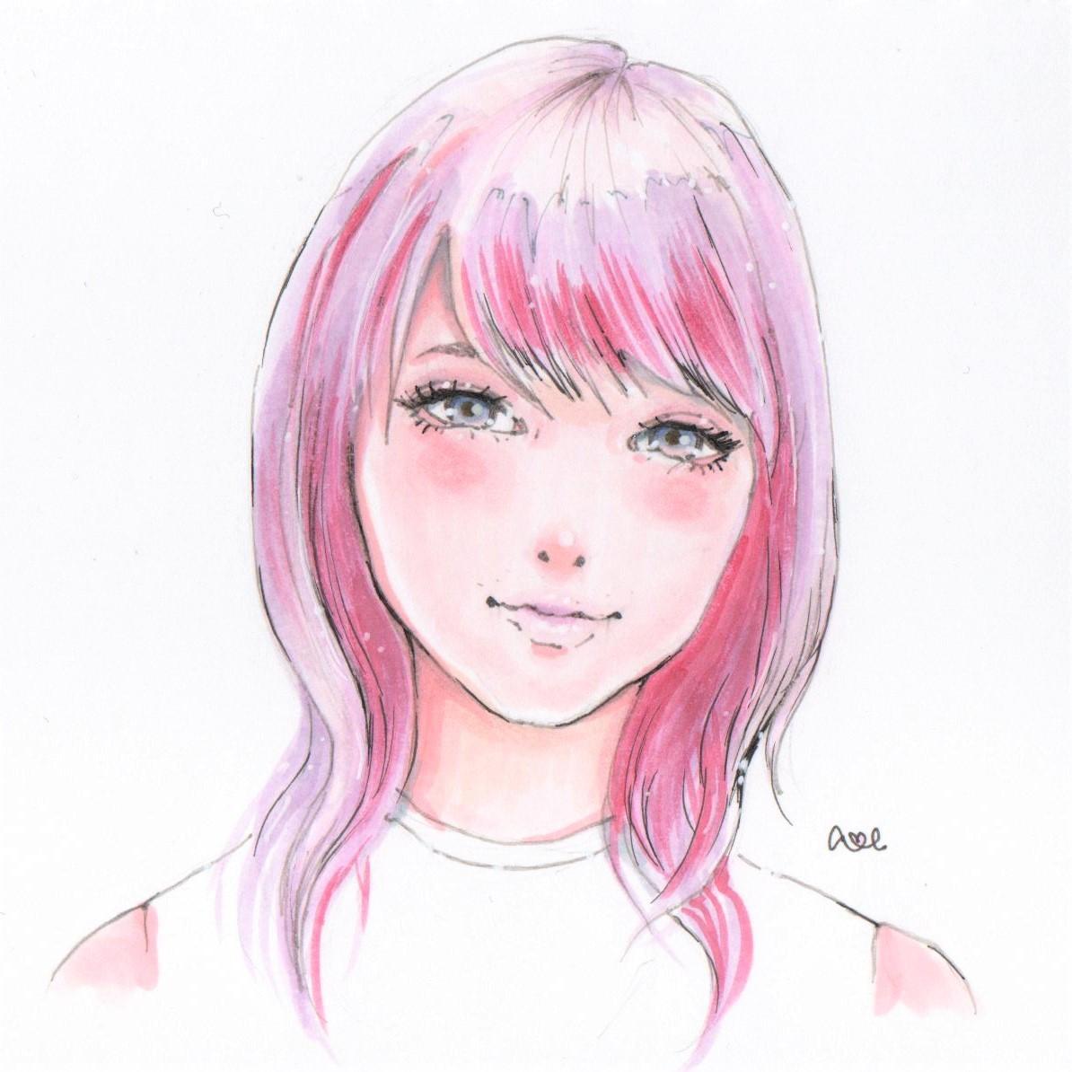 手描き似顔絵、あなたの髪色をピンク色に変化させます SNSのアイコンや、プレゼント、二次利用で名刺などに・・・