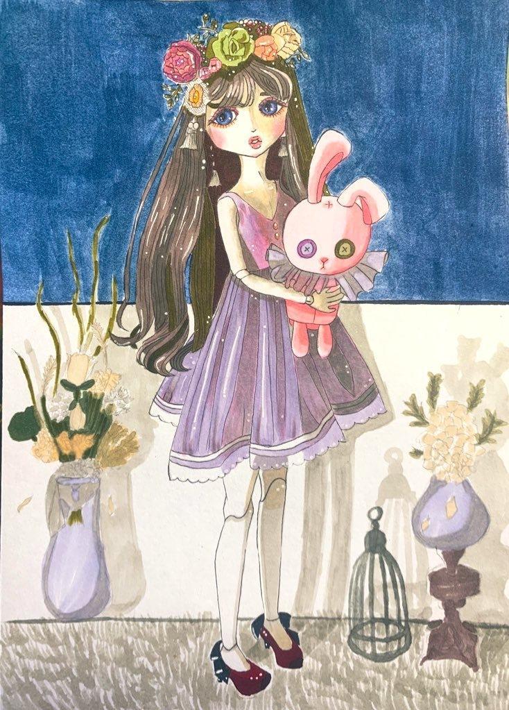 アナログイラストを描いています 女の子の絵をインテリアの一部に。 イメージ1
