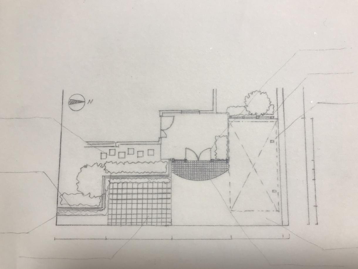 手描きで、造園外構平面図・図面描きのお手伝いします 図面描きする時間がない方、スタッフ不足の方々をお手伝いします