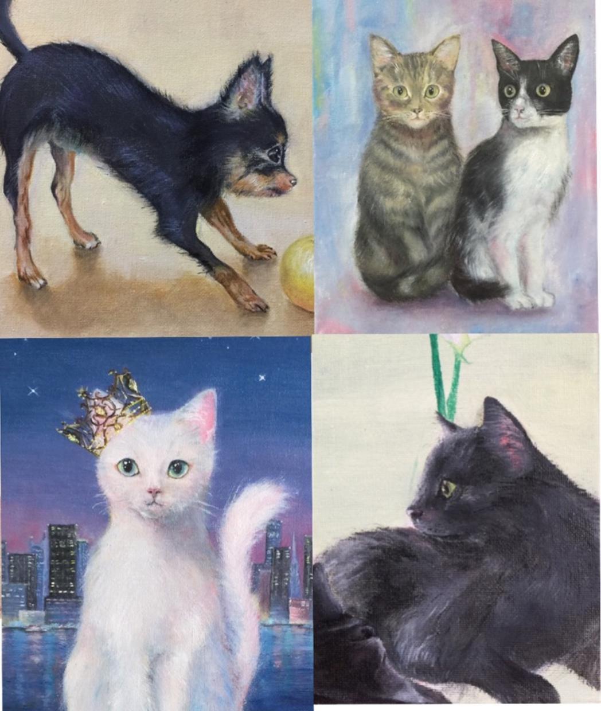 油彩にて可愛い動物の絵を描きます ワンちゃんや猫ちゃんなど、あなたの大好き♡を形にします!