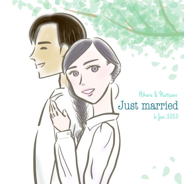 季節感のある背景つき♡新婚カップルの似顔絵かきます 【パーソナルカラー資格保有者がお二人の幸せを鮮やかに表現!】