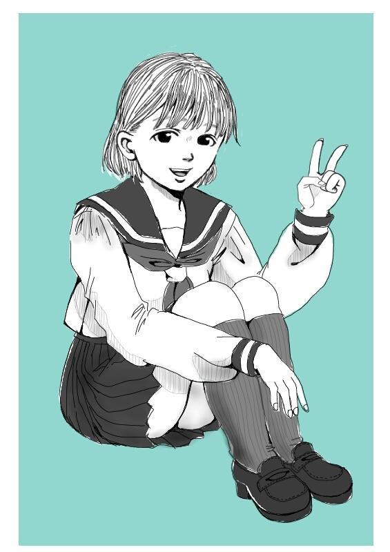 女の子の白黒イラスト描きます イメージの女の子、オリジナルの女の子をイラストに!