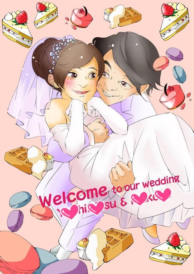 結婚式のウェルカムボード描きます デフォルメ~リアルまで、望み通りの絵柄で作成します。