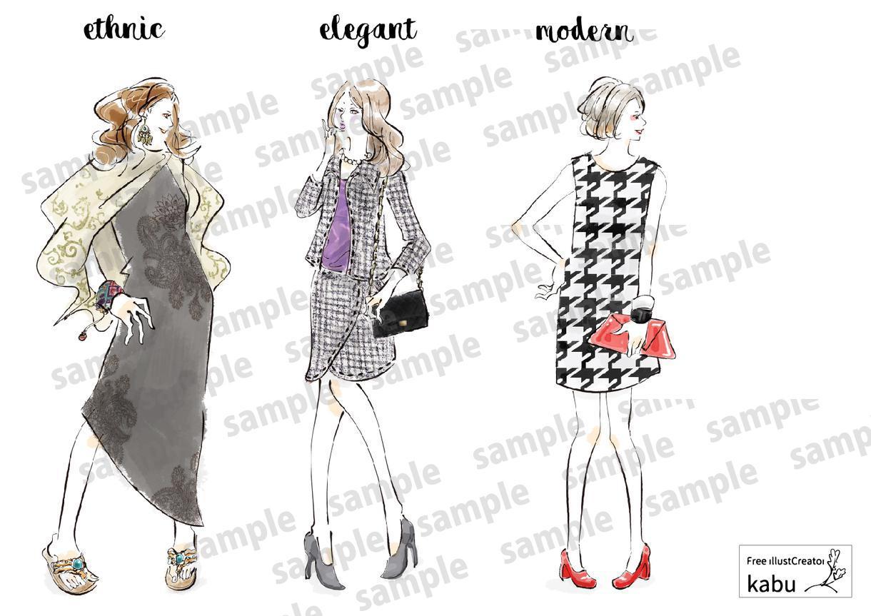 スタイリッシュでおしゃれな女性を描きます 商用利用可。ファッション・エステ関連でおしゃれに飾りたい方に