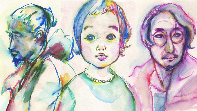水彩ペンでカラフルな似顔絵を描きます プレゼント選びの方におすすめ!