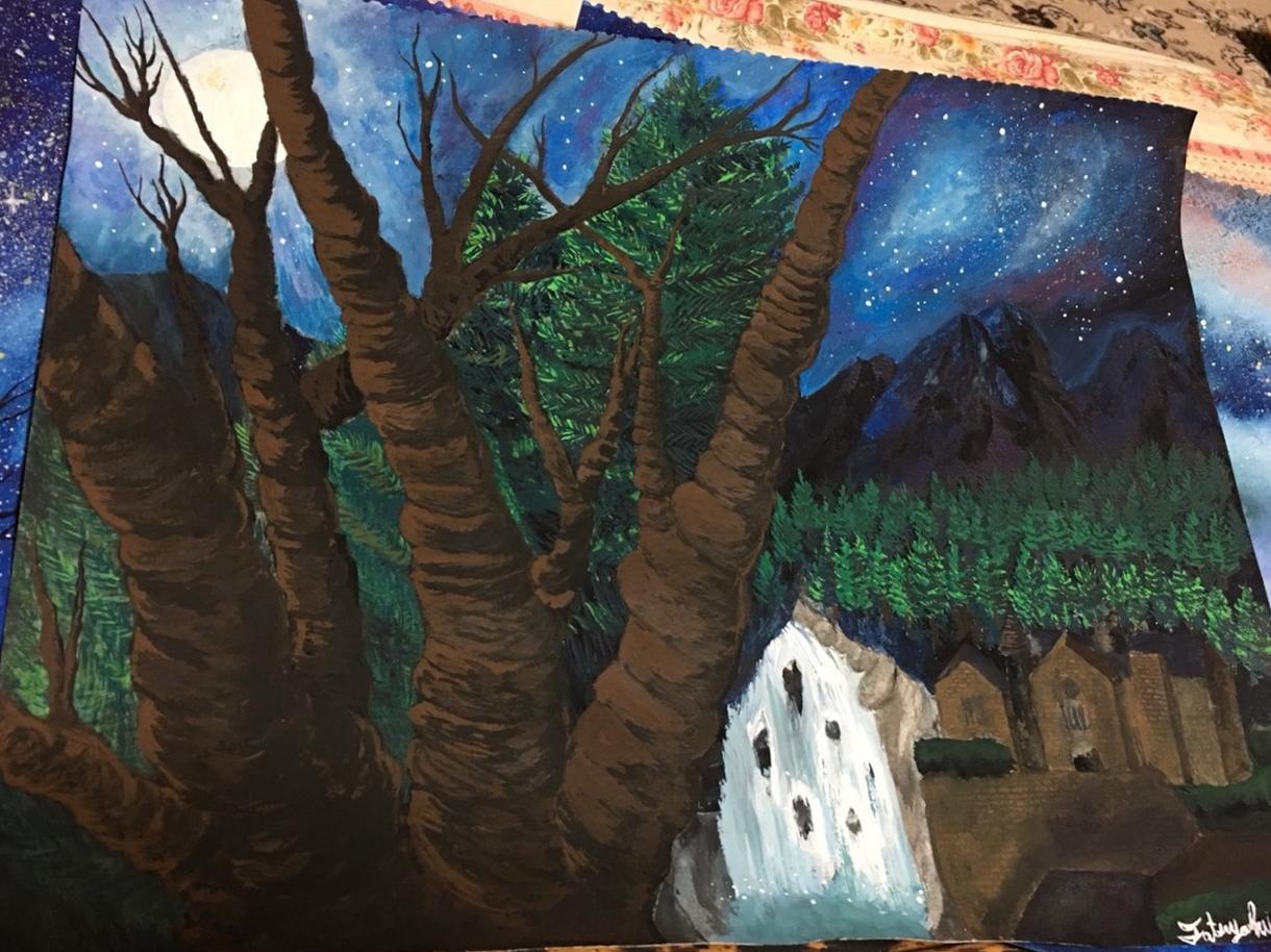 好きな景色を合成し自然体にキャンパス一枚に描きます !!幻想で美しい絵を玄関で飾ってみるのはいかがですか?