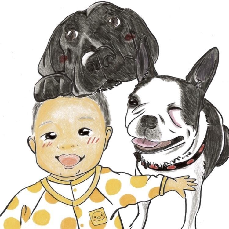 あなたの家族(ペット)を描きます 【色鉛筆で、ちょっとポップでかわいく♪】