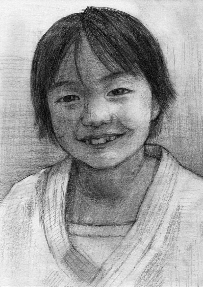 まじめな似顔絵デッサンA4サイズを描きます 写真からデッサンを制作します。大切な思い出を格調高いアートに