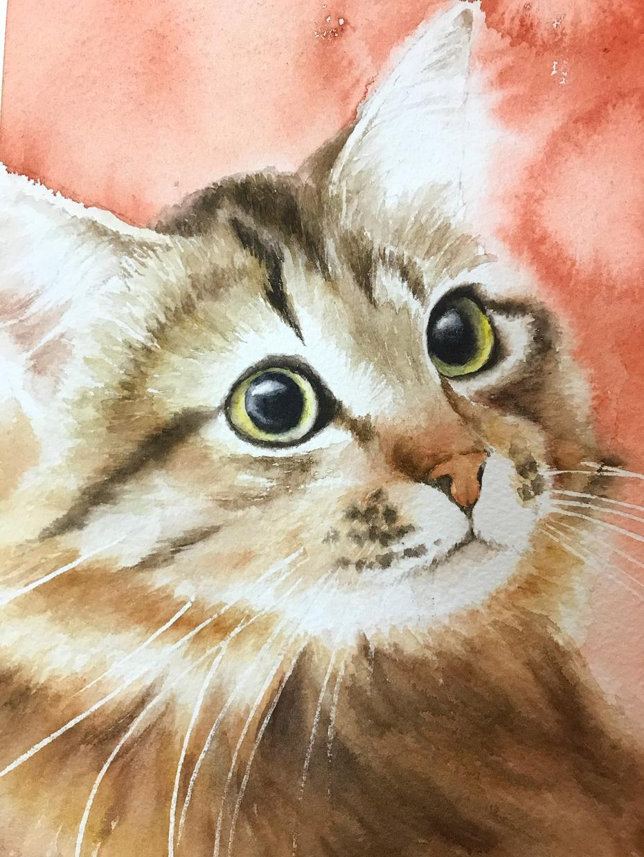プロの画家がかわいいペットの水彩画を描きます ペットと過ごされた大切な時間を絵に残そう。