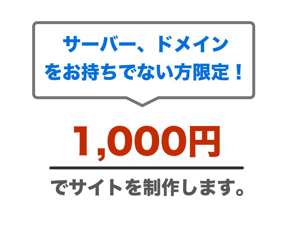 千円でWordPressサイト作ります サーバー、ドメインの無い方限定!