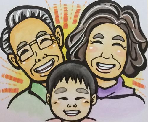 水彩で似顔絵を描きます お誕生日、敬老の日、米寿祝いの贈り物に