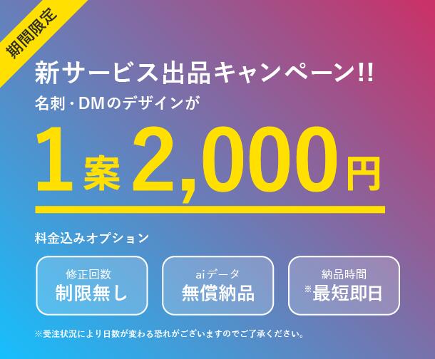 期間限定 一案¥2000でデザインします プロのデザイナーが名刺等のデザインを一案¥2000で作成!