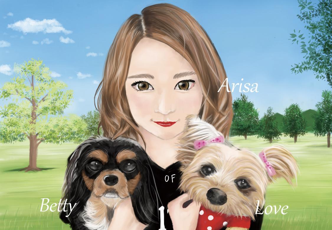ペットと飼い主様の似顔絵お描きします 修正回数無制限★データ贈呈★衣装髪型指定・文字入れ無料