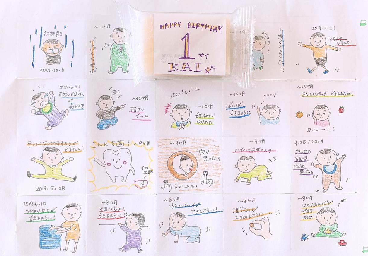 一歳のお誕生日に一升餅用イラスト描きます 市販のカット餅に貼るだけで可愛いオリジナル一升餅の出来上がり