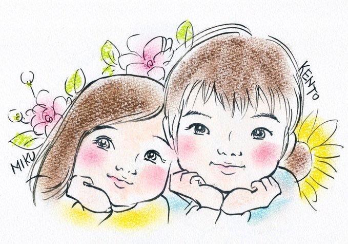 誕生花と一緒に似顔絵描きます 父の日プレゼントにお困りの方オンリーワンの贈り物になります!
