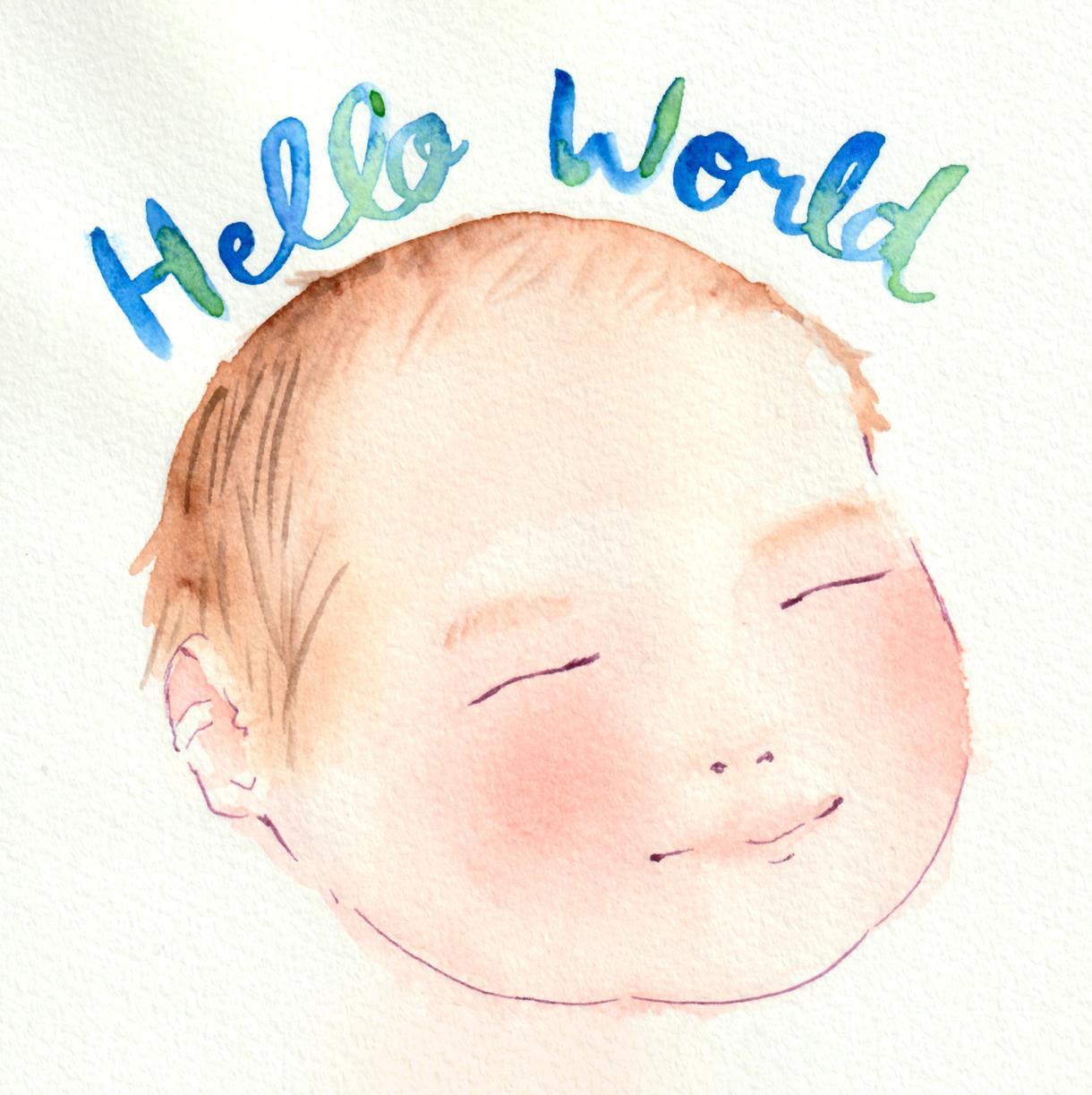 出産祝いに!誕生日祝いに!似顔絵描きます 柔らかい水彩画は老若男女のプレゼントに最適! イメージ1