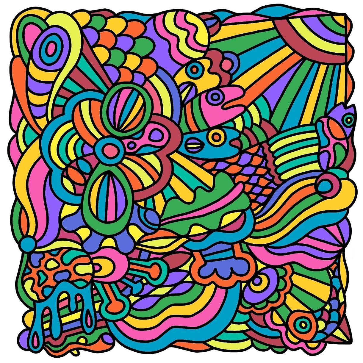 抽象画かきます カラフルで独特な絵柄を描いてます。