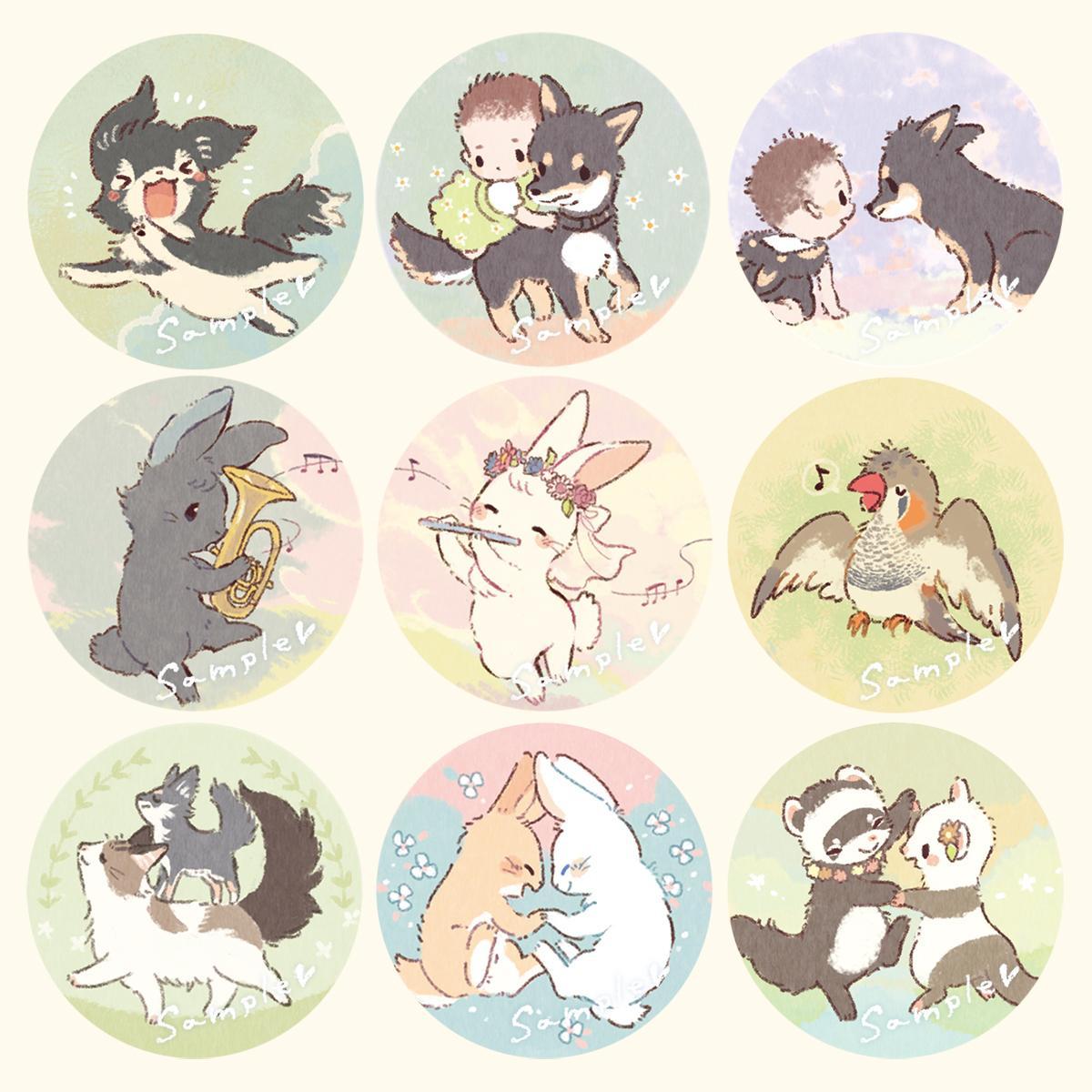 ゆるふわな動物ミニイラストをお描きします アイコン、グッズ、挿絵に♪オプションで一度に沢山描きます イメージ1