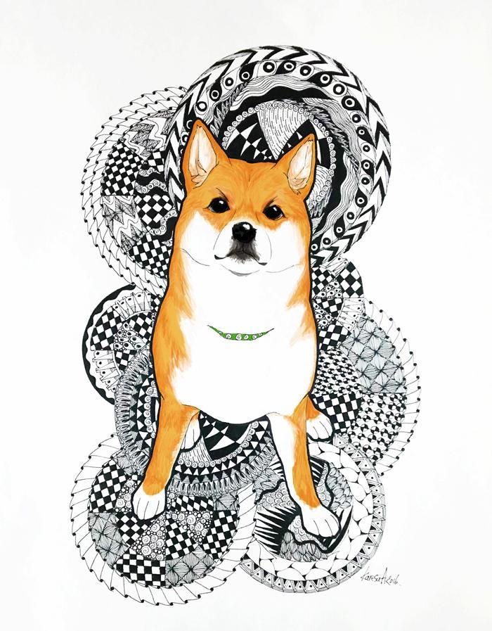 プリントして雑貨にしてもイイ感じの、ペットのイラスト描きます。