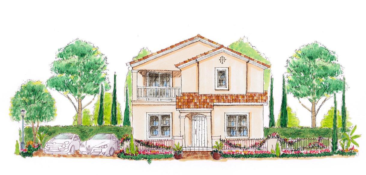 手描き立面図を作成します 住宅や店舗などの立面図を手書きでアレンジいたします。