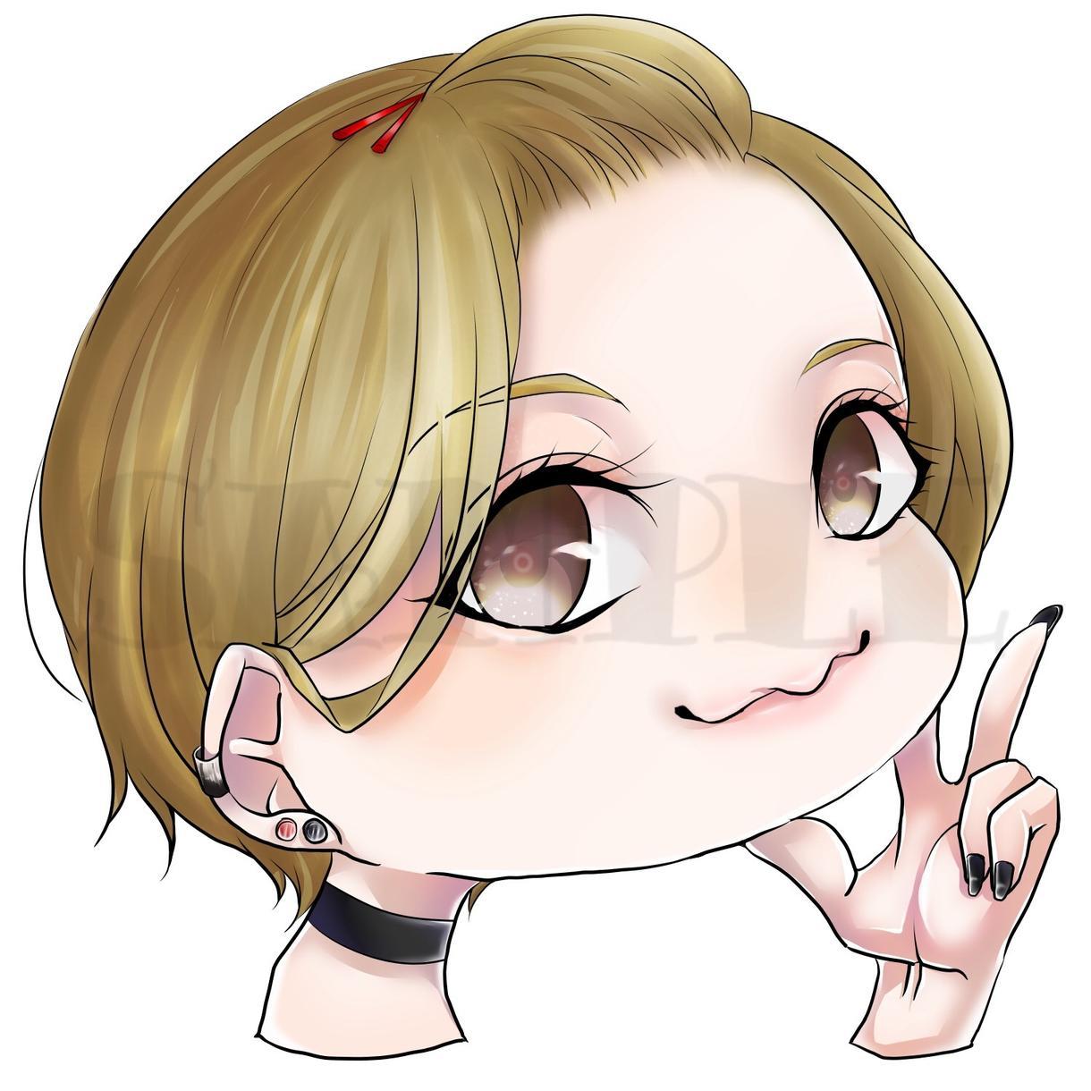 貴方だけに!SNS用ミニキャラアイコン描きます 似顔絵や創作キャラクターまで。ちまっとした、特別な1枚を!