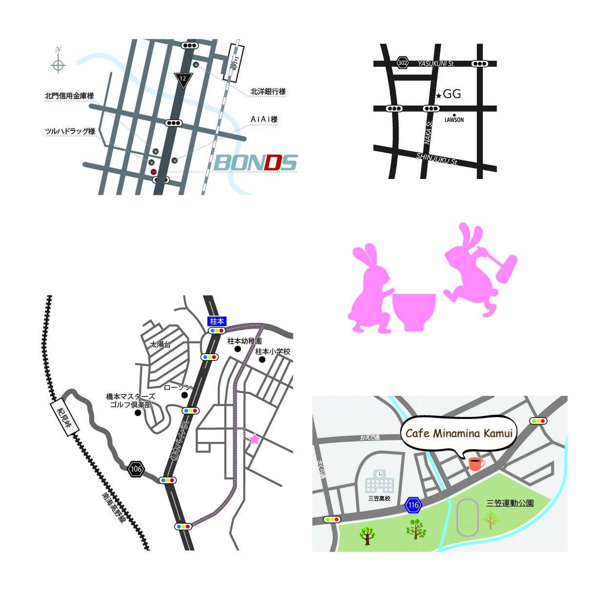 ★WEB用地図・紙媒体地図★地図チラシ名刺の地図を作成します! イメージ1