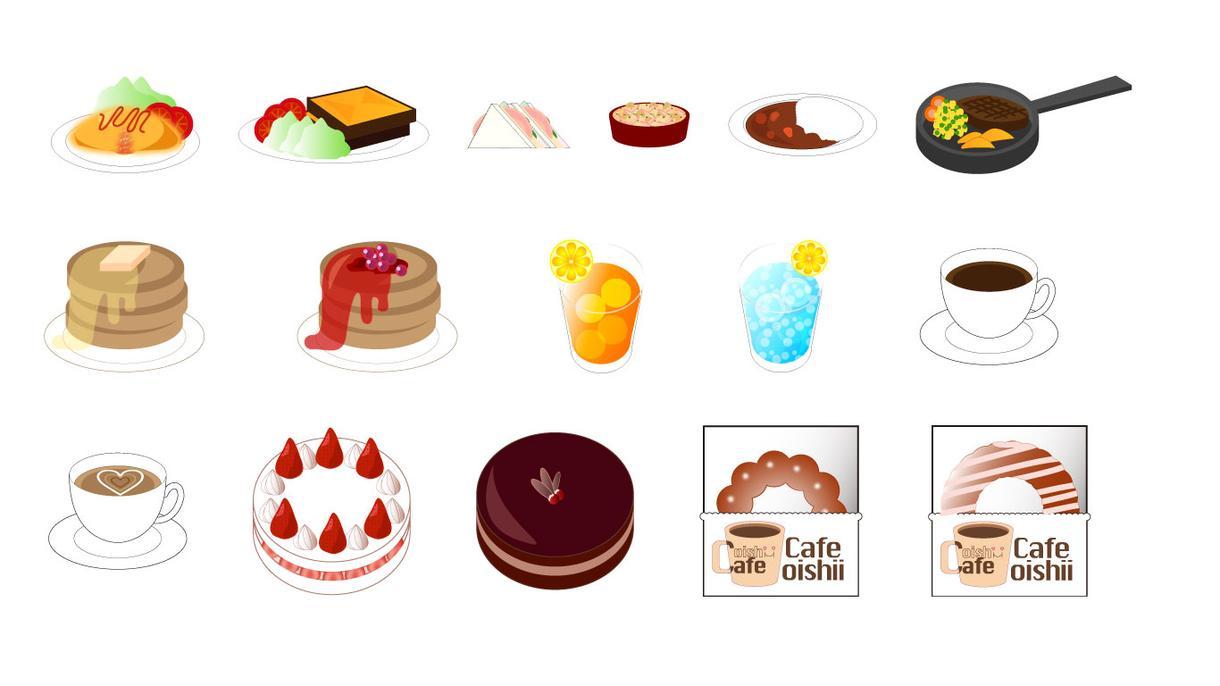 食べ物や小物の絵をイラレで3点描きます ウェブ用素材や、イラストの装飾、ロゴパーツなどにも!