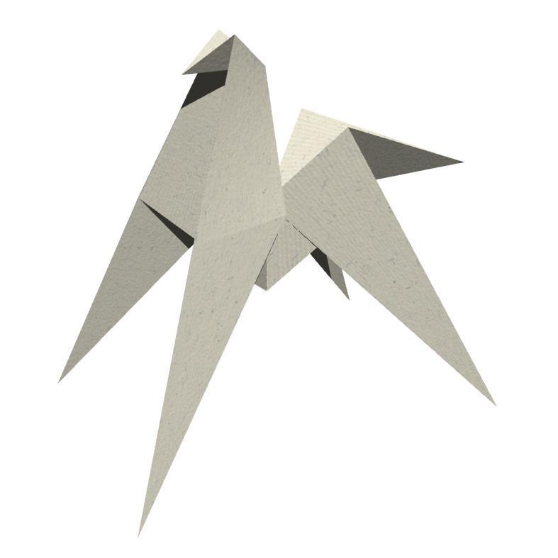 3DCGのPNGの折り紙馬。