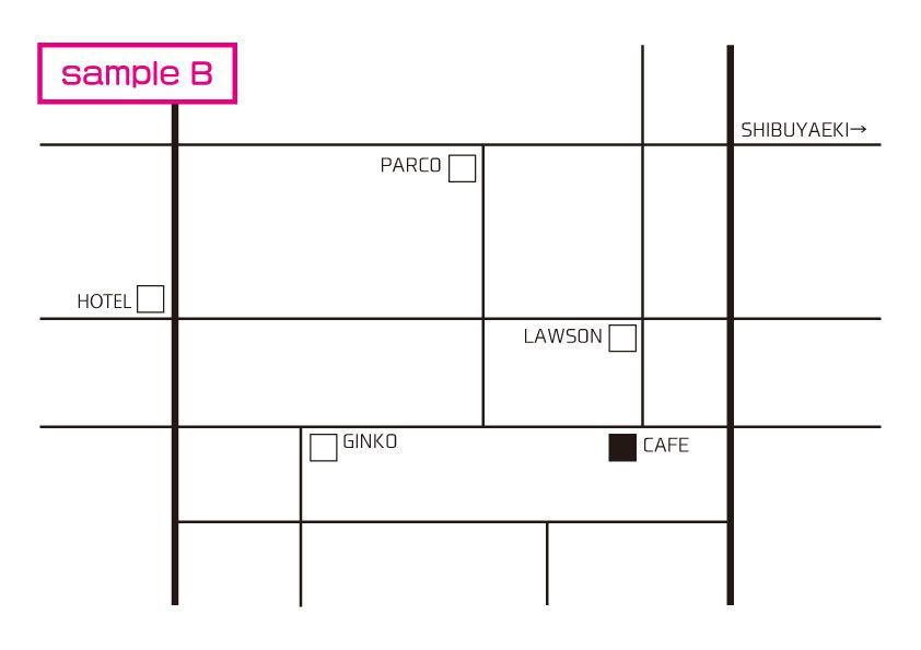 モノトーンでかわいい地図を作ります シンプルで伝わる地図をデザインします。