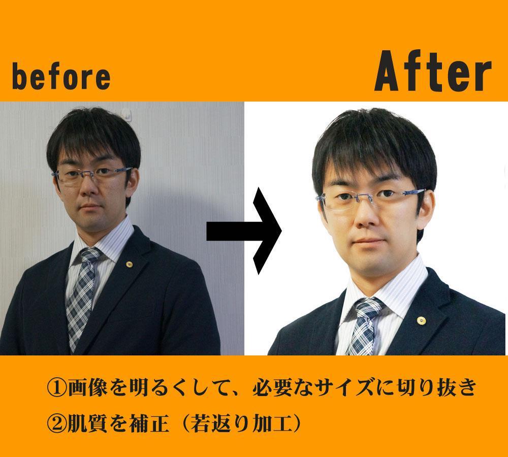 証明写真・プロフィール画像加工・写真の背景切り取り・背景入れ替え・合成画像作成