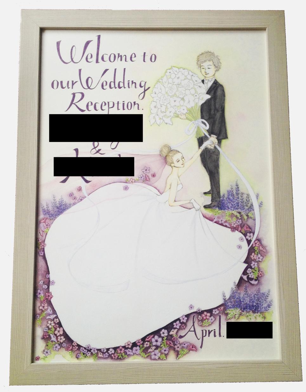 結婚式のウェルカムボード描きます 可愛すぎない、大人な画風をお求めの方へ。