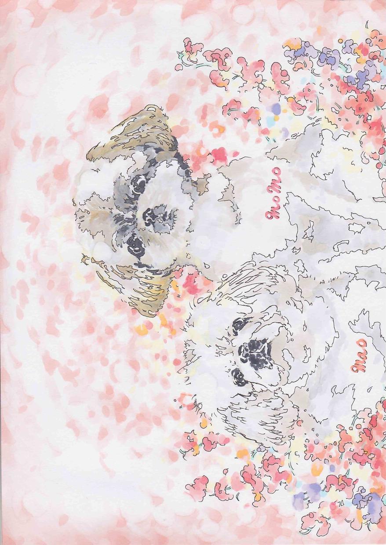 お花とペット、ハガキサイズでお描きします 記念、思い出やプレゼントに。色鮮やかな贈り物を✧*。