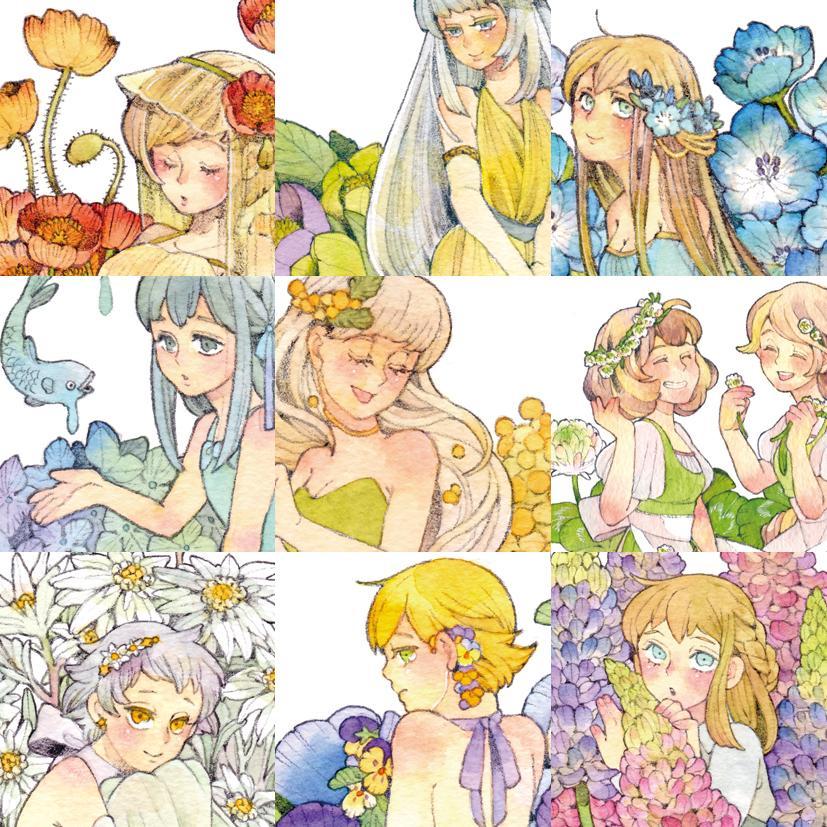 水彩で可愛いイラストお描きします アイコンやPOPのワンポイントに!花や女の子が得意です