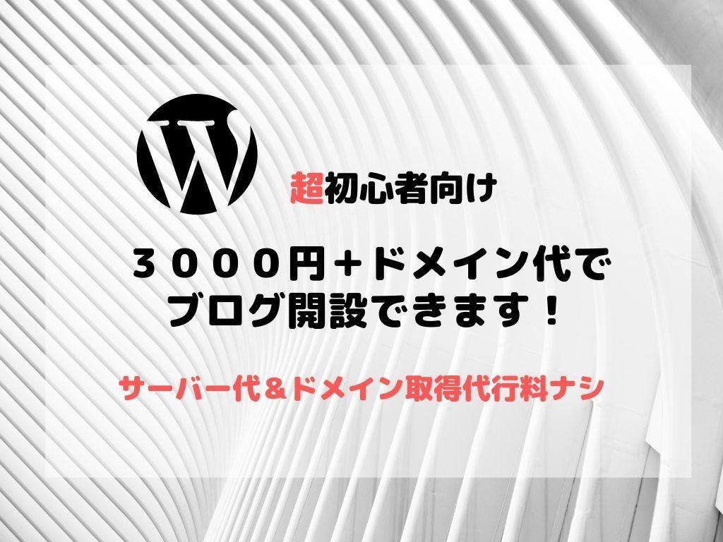 超初心者向け!WordPressでブログ作成します とにかく「格安で」「手間無く」ブログを始めたい方