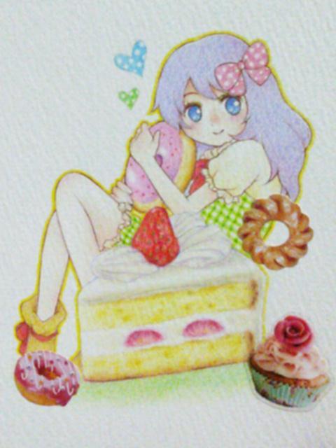 お菓子や動物モチーフのイラストを描きます