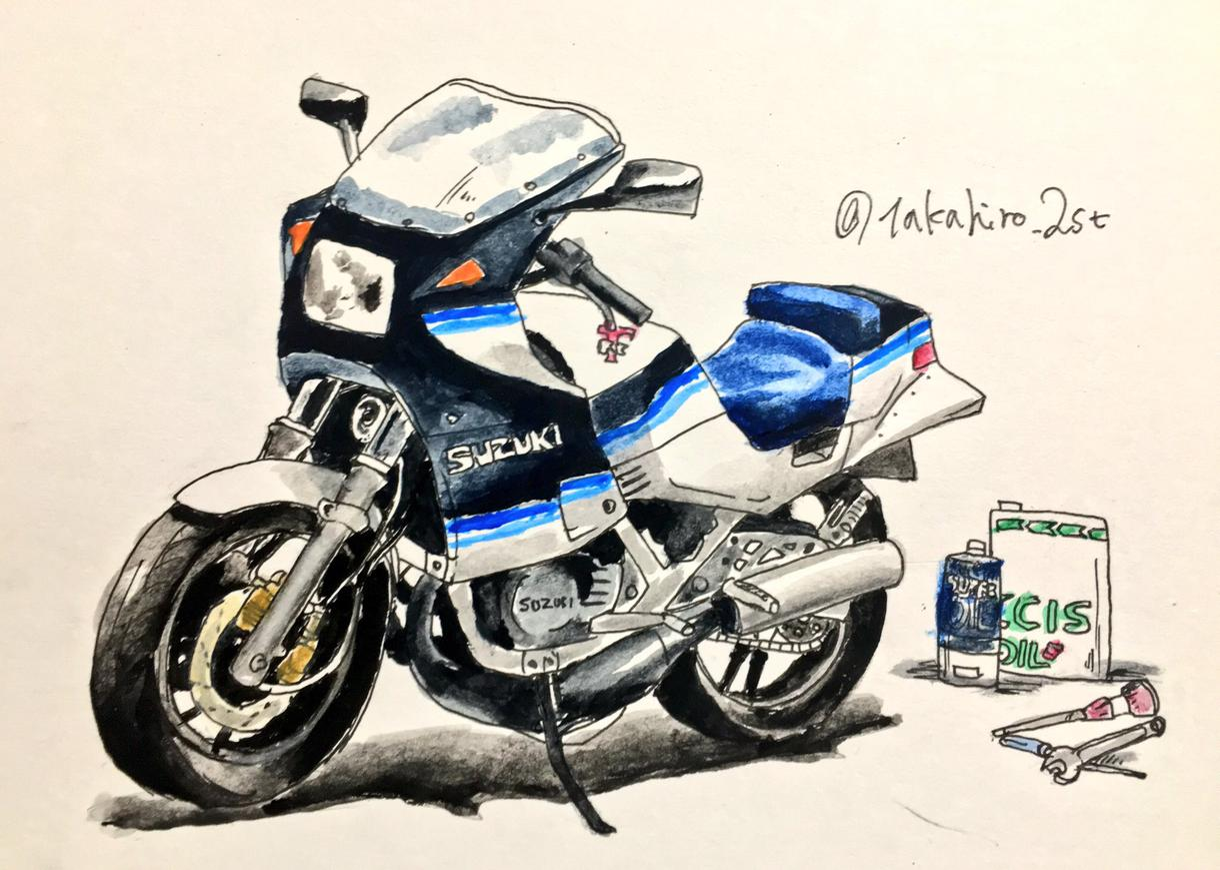 ワンコイン 水彩画   バイク 旧車 イラスト