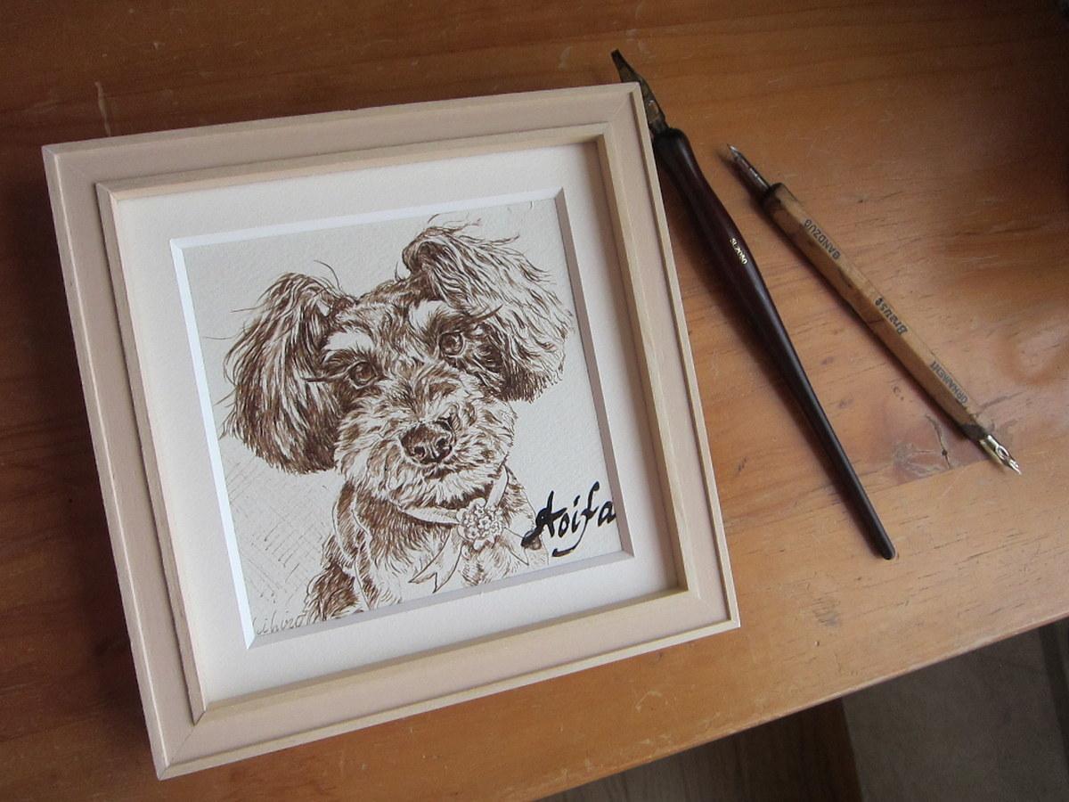 ペットの似顔絵をペンとインクで手描きします シンプルでおしゃれなペットの絵をインテリアに