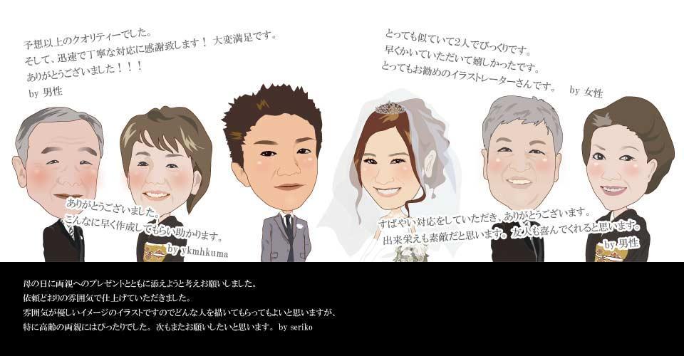 当日か翌日仕上げ。似顔絵作成します。一人1000円。二人の場合2000円おひねりで