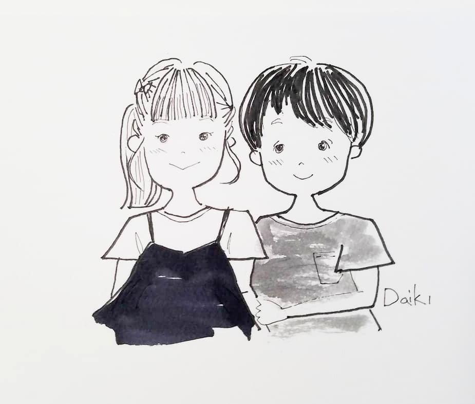 郵送可!モノトーンでお洒落な似顔絵描きます お家に飾る、ペン画で可愛い雰囲気な絵にしあげます!