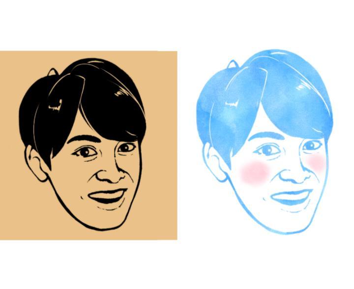 お写真を元に。シルエット加工似顔絵お描きします アイコンや友人へのプレゼント、結婚式のウェルカムボードなど!