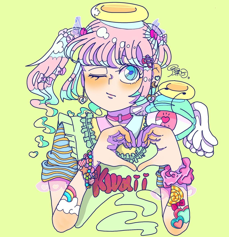 サイコポップなSNSアイコンを描きます 女の子らしいパステルカラーをベースにしたイラストを描きます!