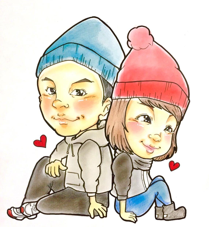 カップルのにがおえもお描きします 記念日やプレゼントにかわいいカップル似顔絵はいかがですか?