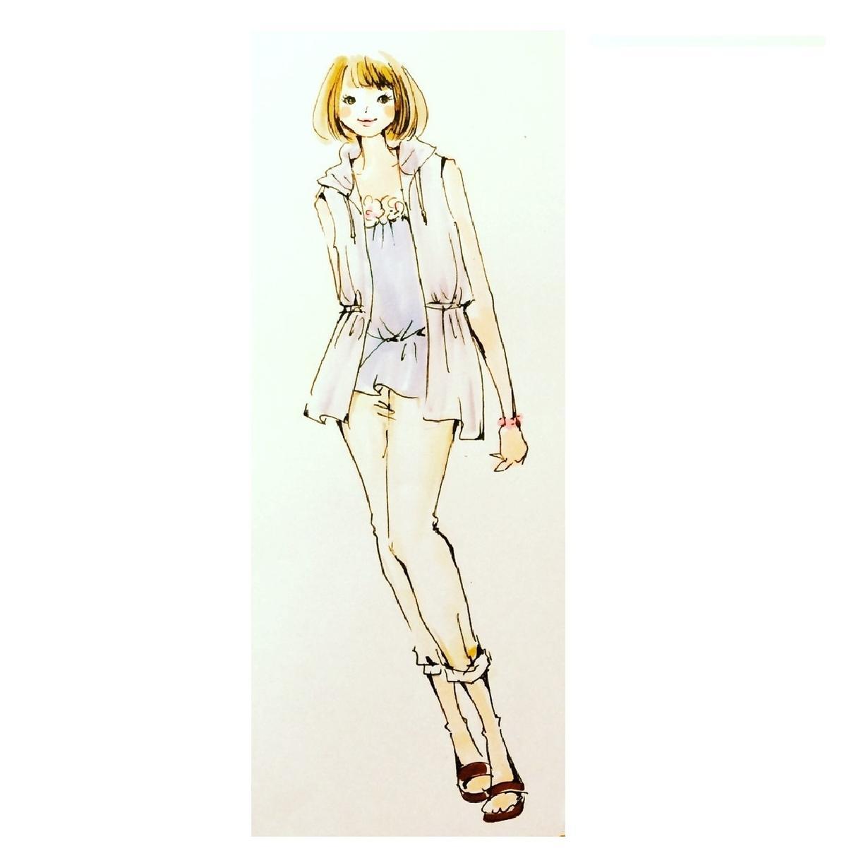 レディースファッションデザイン画を描きます お好きなコーディネートを8等身女性に着せて描きます!