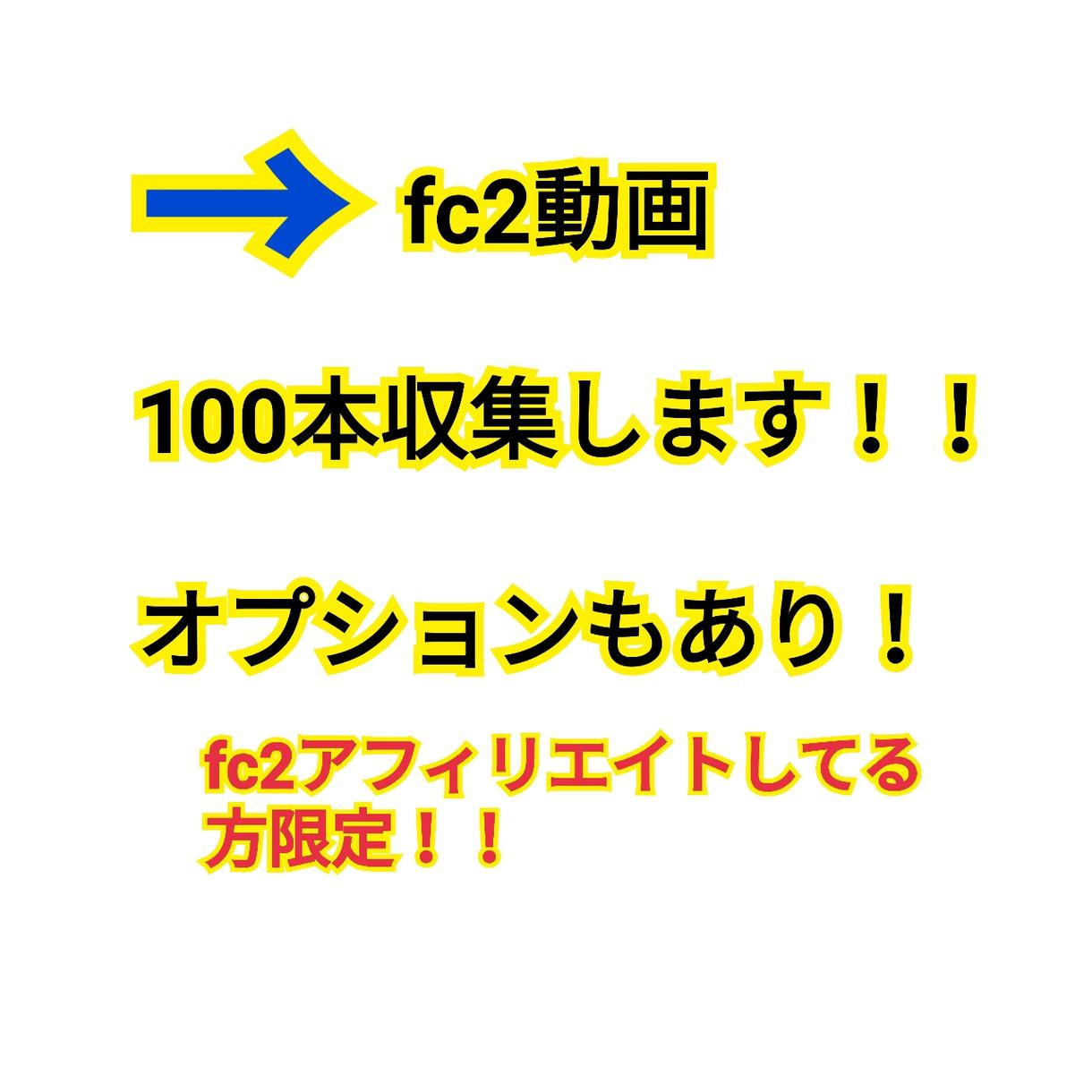 fc2動画の収集を100本します fc2動画アフィリエイトされてる方限定。