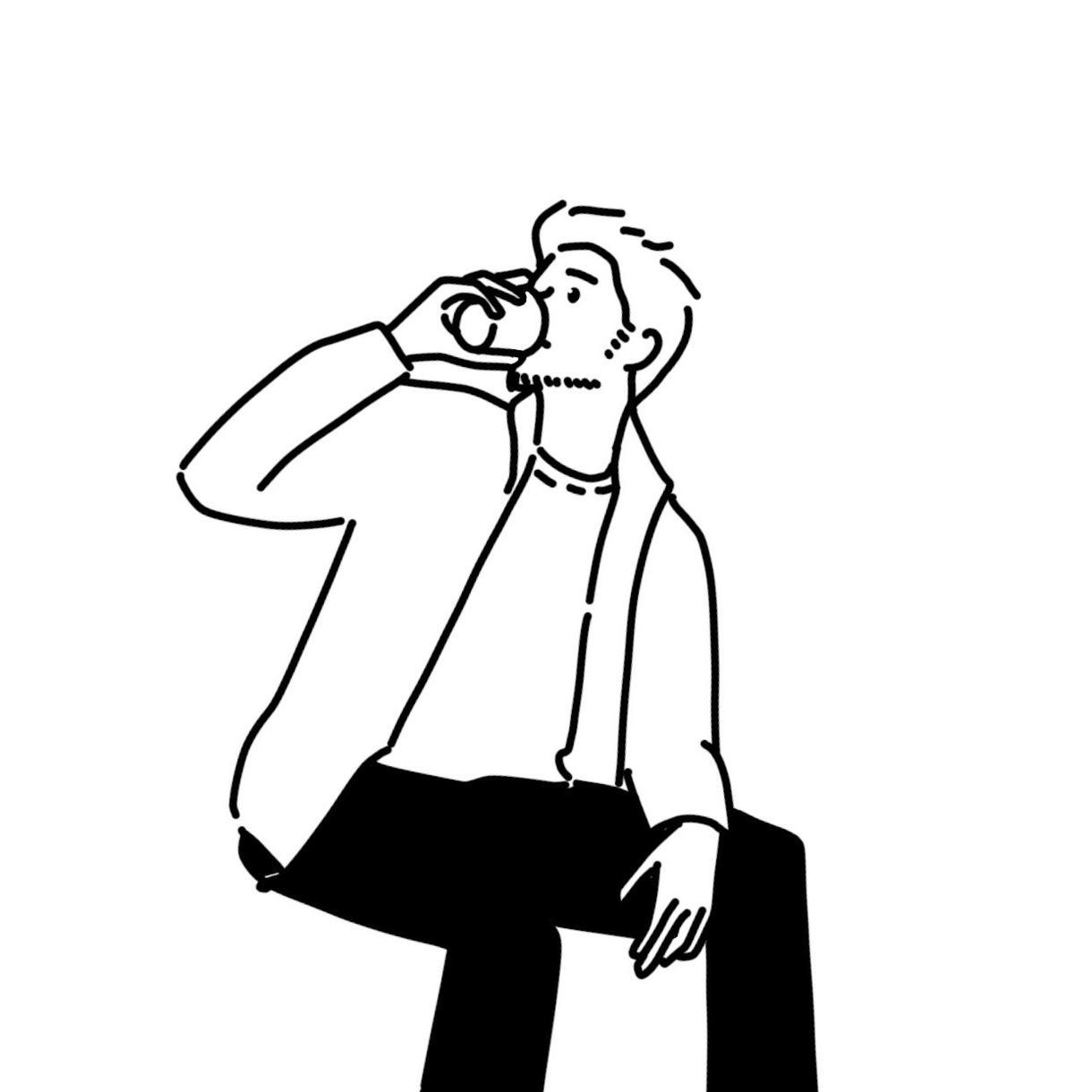 お写真からシンプルなイラストをお描きします SNSアイコンや名刺の挿絵など、おしゃれにしませんか?