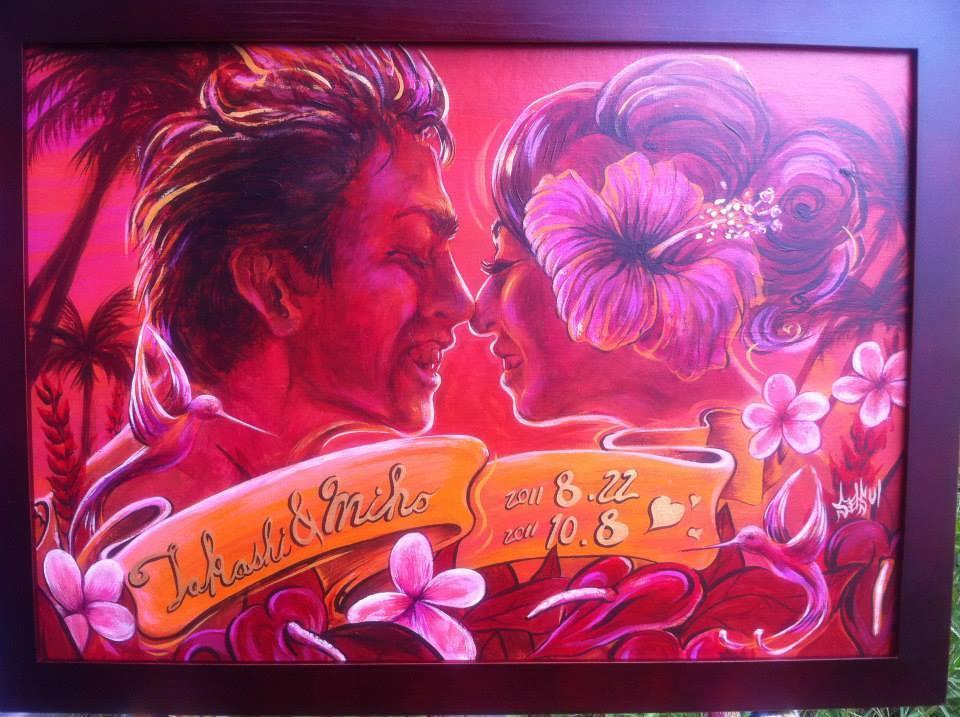 ロマンティックな夕日似顔絵ウェルカムボード描きます 恋人達へ手描きならではの温もりと一点物の価値をお届けします