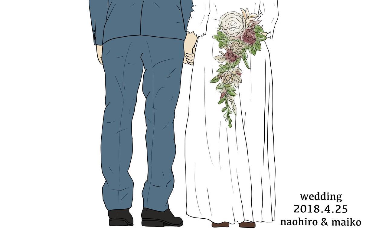 写真からイラストにします お子さんや前撮りや結婚式など可愛いイラストにしますよ♡♡♡
